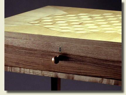 Handmade furniture: Shaker side table by Dimension Furniture - front detail of drawer